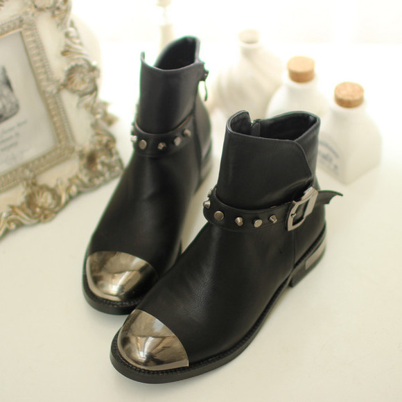 shoes rivet studded metal toe boots motorcycle
