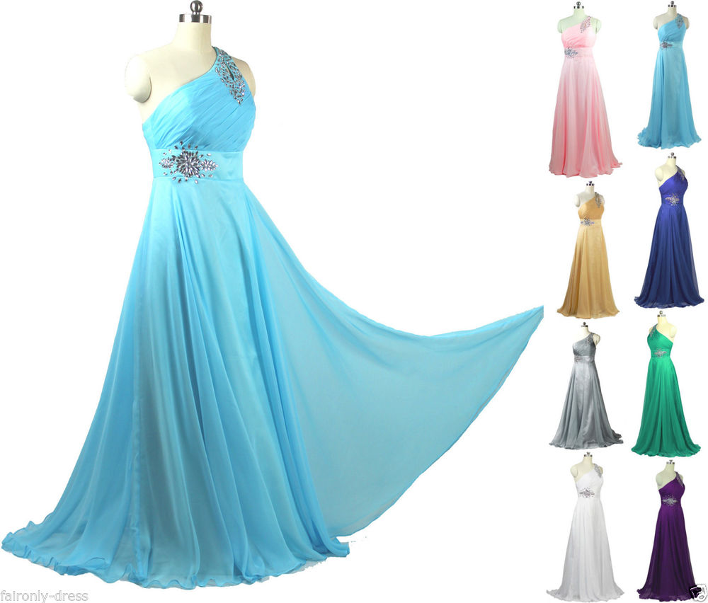 Faironly F1 Silk Chiffon Crystals One Shoulder Evening Dress Party Formal Gown | eBay
