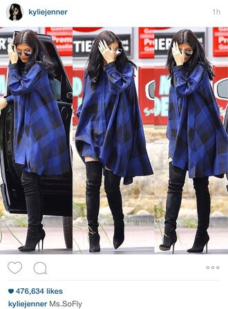 kylie jenner flannel shirt dress airport fashion blue dress blouse boots heels plaid kylie jenner dress shirt dress plaid dress blue shirt oversized checkered shirt maxi dress blue black