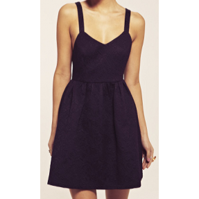 PEAR - Dahlia Sophia Black Jacquard Cross Bow Dress