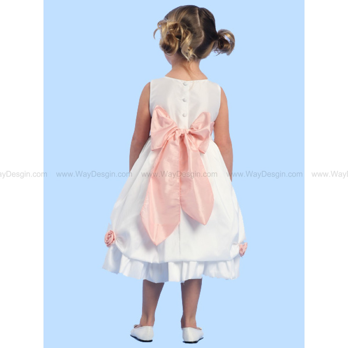 Blossom White Sleeveless Taffeta Dress Detachable Flowers and Sash