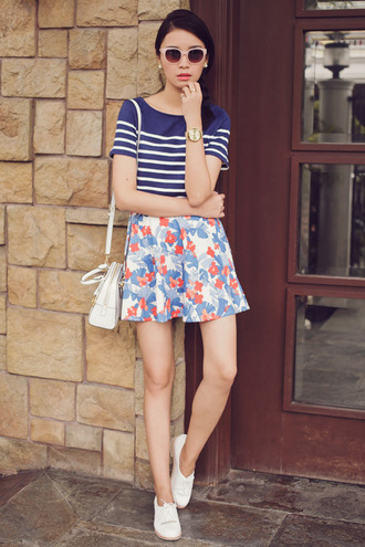 tricia gosingtian sunglasses jewels top skirt bag shoes