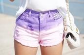 shorts,purple,studs,High waisted shorts