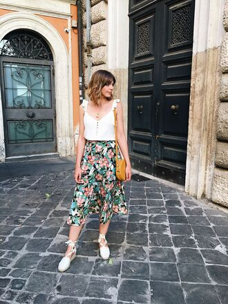 top tumblr white top button up skirt midi skirt floral floral skirt sandals espadrilles white shoes bag summer outfits shoes