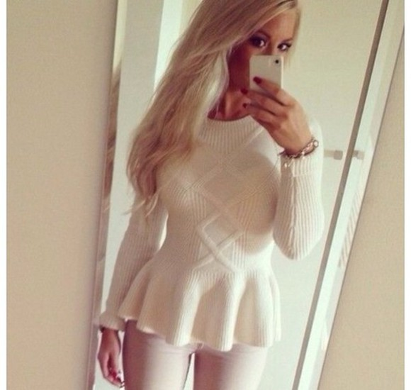 sweater white sweater cute top