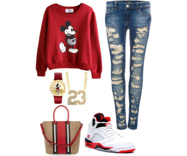 shoes jeans jewels bag air jordan mickey mouse shirt sweater red mickey mouse disney mickey mouse red sweater watch shirt micky moue red footlocker