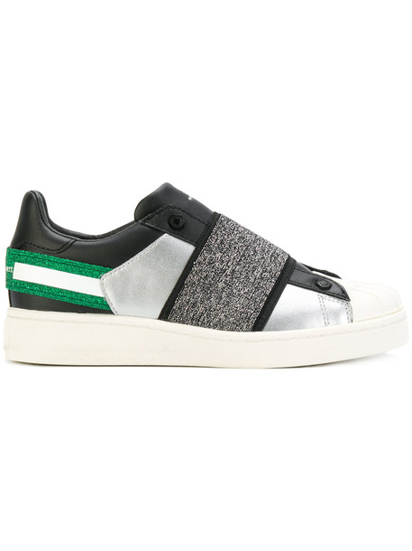 Moa Master Of Arts - panelled colour block sneakers - women - Leather/Cotton/rubber - 37, Grey, Leather/Cotton/rubber