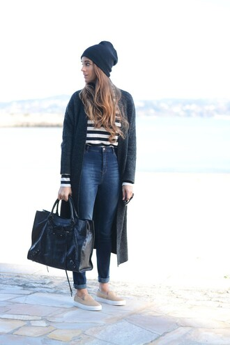 stella wants to die blogger striped sweater high waisted jeans vans black bag