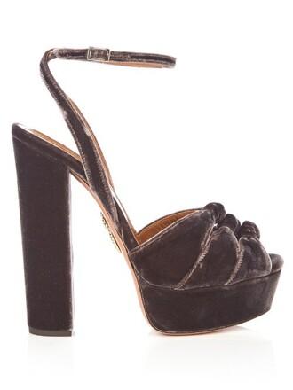 sandals platform sandals velvet dark brown shoes