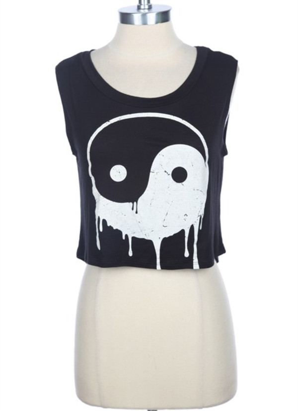 shirt yin yang yin yang shirt crop tops black crop top