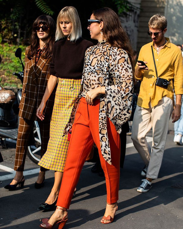 pants orange high waisted pants leopard print blouse sandals midi skirt checkered sunglasses earrings pumps