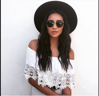 dress white strapless sunglasses sun glasses black shay mitchell summer hot gold