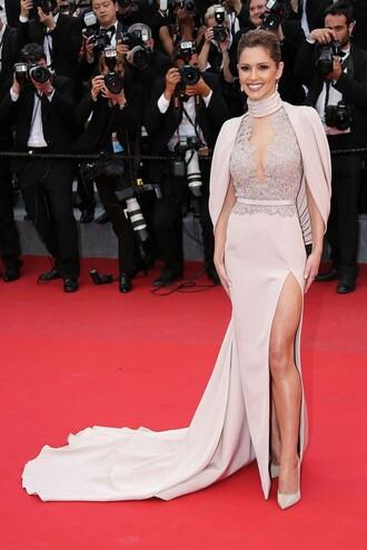dress gown slit dress cheryl cole pumps red carpet dress cannes
