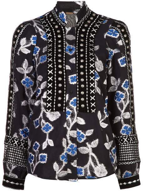 blouse embroidered metallic women floral black top