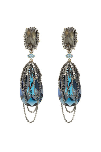 crystal earrings draped earrings blue jewels