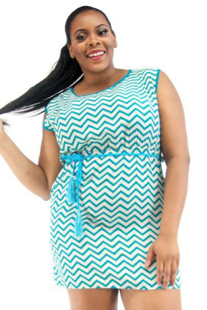 Dress Mint Blue Blue Dress Mini Dress Chevron Plus Size Plus