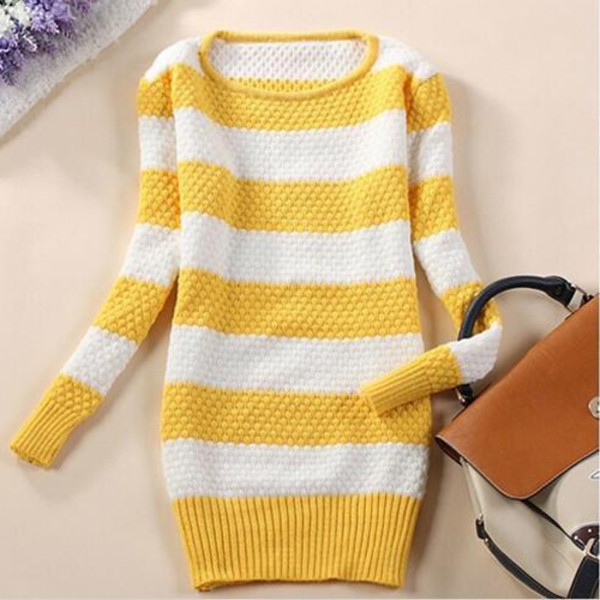 casual long sleeves slim striped sweater