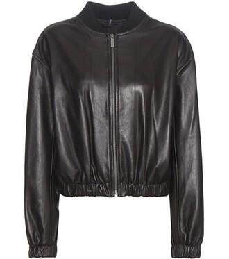 jacket bomber jacket leather black