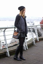 styling my life,sweater,jacket,skirt,shoes,bag,hat,quilted vest,black vest,vest,beanie,black bag,black sweater,mini skirt,black skirt,boots,knee high boots,tights,opaque tights