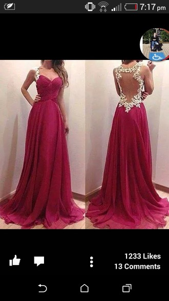dress long prom dress pink dress pink and white open back dresses