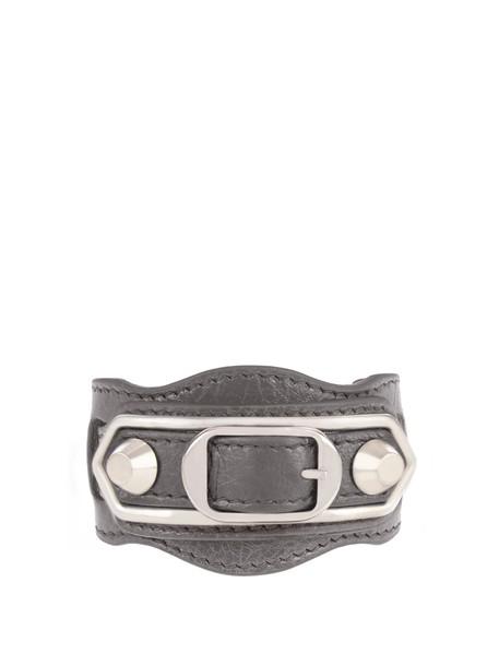 Balenciaga metallic classic leather grey jewels