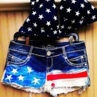 swimwear usa stars stripes american flag shorts american flag usa nyc black black and white white blue red shorts bikini top bikini denim denim shorts