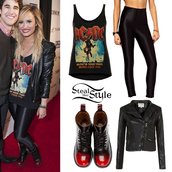 shoes,boots,acdcshirt,demi lovato,jacket,rock,tank top,leggings