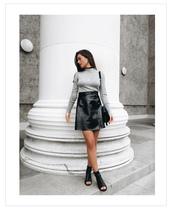 ilirida krasniqi,blogger,bag,jacket,jewels,grey top,long sleeves,leather skirt,zip,zipped skirt,mini skirt,black boots,ankle boots,open toes,shoulder bag,black bag