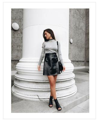 ilirida krasniqi blogger bag jacket jewels grey top long sleeves leather skirt zip zipped skirt mini skirt black boots ankle boots open toes shoulder bag black bag