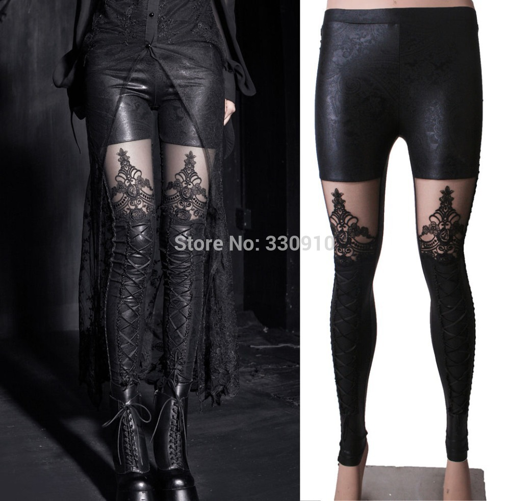 13a8bc0eee547 Aliexpress.com   Buy New Black Punk Gothic PU leggings Leather Pants  Stitching Embossed Lace Leggings For Women