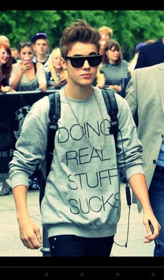 sweater justin bieber swag cool sunglasses backpack mcm necklace