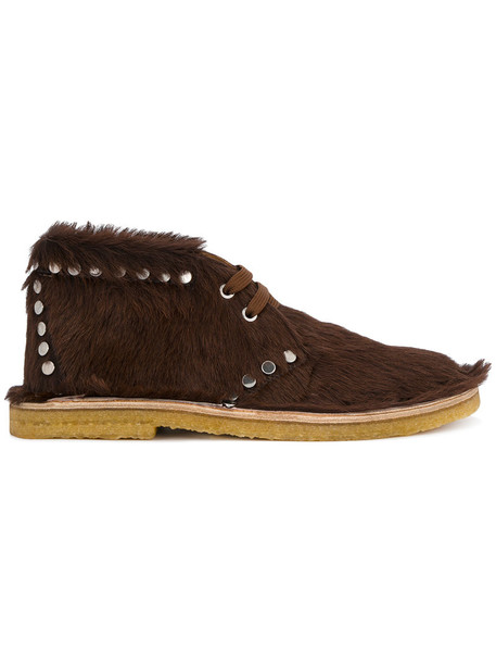 Prada studded hair fur women leather brown shoes