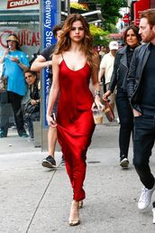 dress,red slip dress,slip dress,red dress,maxi dress,satin dress,spaghetti straps dress,sandals,high heel sandals,gold sandals,selena gomez,celebrity style,celebrity