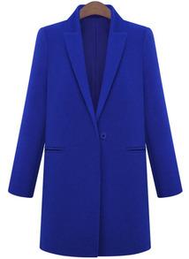 Blue Lapel Long Sleeve Loose Woolen Coat -SheIn(Sheinside)