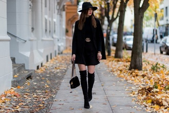vogue haus blogger skirt shoes hat belt bag felt hat thigh high boots cape all black everything jeans dress sweater