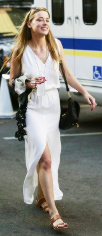 amber heard cream white dress cream dress maxi dress white maxi dress
