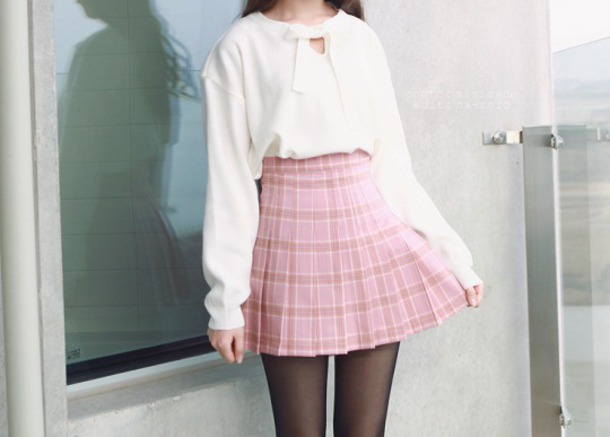skirt harajuku pink kawaii pale pastel goth aesthetic top bow front white long sleeves shorts plaid skirt korean fashion