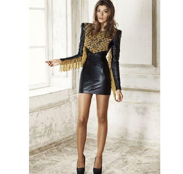c35eed01be34 dress black gold long sleeve dress mini dress little black dress black high  heels fashion shoes