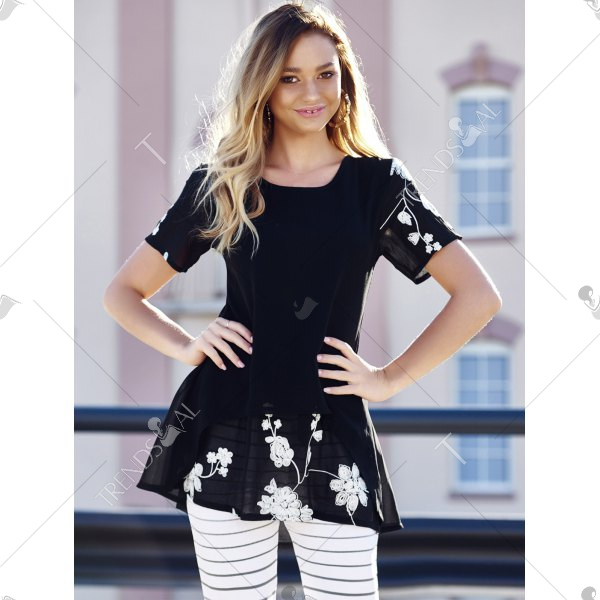 Stylish Scoop Neck Short Sleeves Embroidered Long Blouse For Women