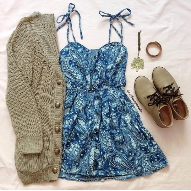 dress blue paisley dress cardigan shoes