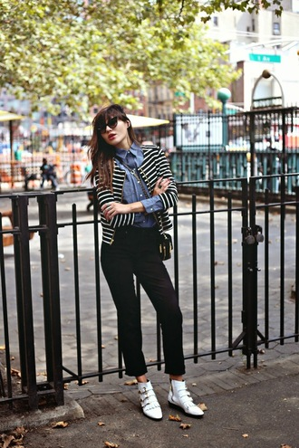 natalie off duty blogger jeans jacket stripes striped jacket