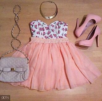 tank top clothes floral flowers bandeau corsage bustier gold necklace pumps pink peach chiffon skirt bag handbag heels sweetheart earphones dress