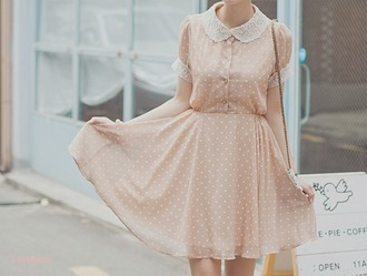 pink dress peach dress retro vintage