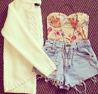 high waisted shorts floral tube top cream sweater cross necklace top