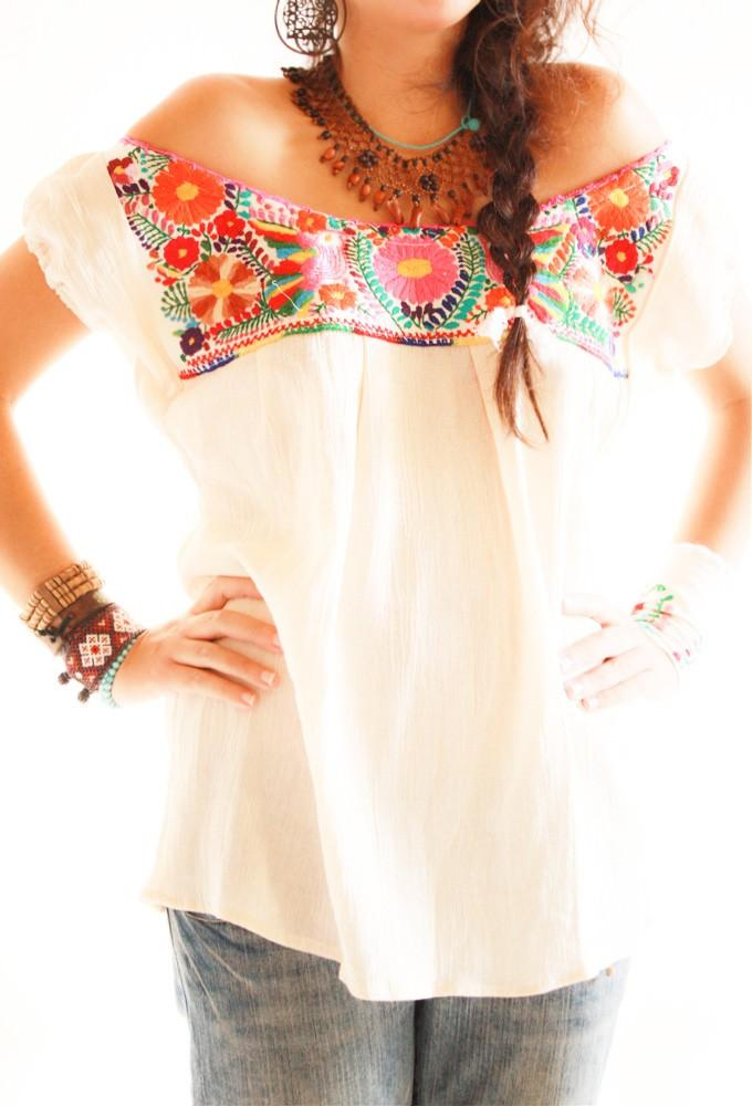 Handmade Mexican embroidered dresses and vintage treasures from Aida Coronado Mexican embroidered blouse  - Aida Coronado store A heart in every piece