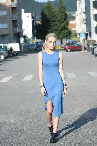 the black effect blogger shift dress asymmetrical dress blue dress spring dress