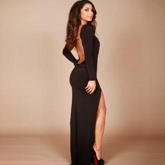 dress black backless dress