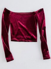 top,fashion,style,trendy,sexy,hot,velvet,burgundy,long sleeves,crop tops,zaful