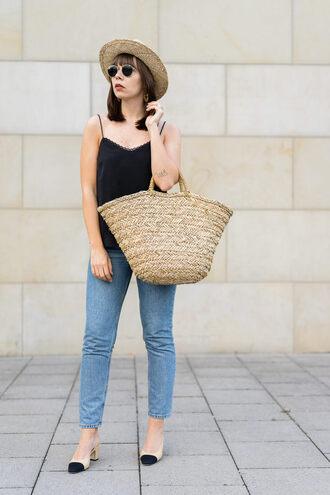 top hat tumblr black top camisole bag straw bag woven bag denim jeans blue jeans sun hat sunglasses shoes