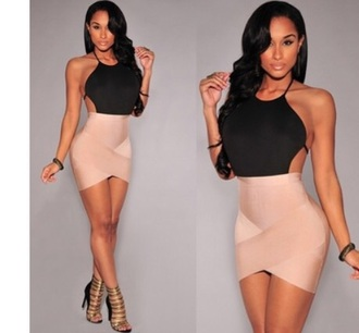 backless spaghetti strap black nude sexy short bandage dress bodycon
